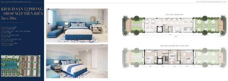 mat bang mini hotel villa shop The Hamptons Ho Tram 5 x 30