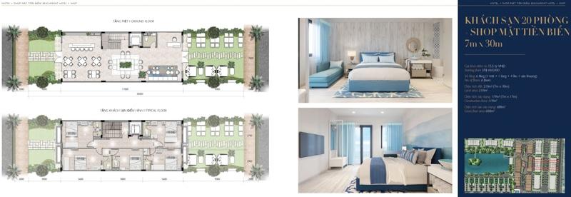 mat bang mini hotel villa shop The Hamptons Ho Tram 7 x 30