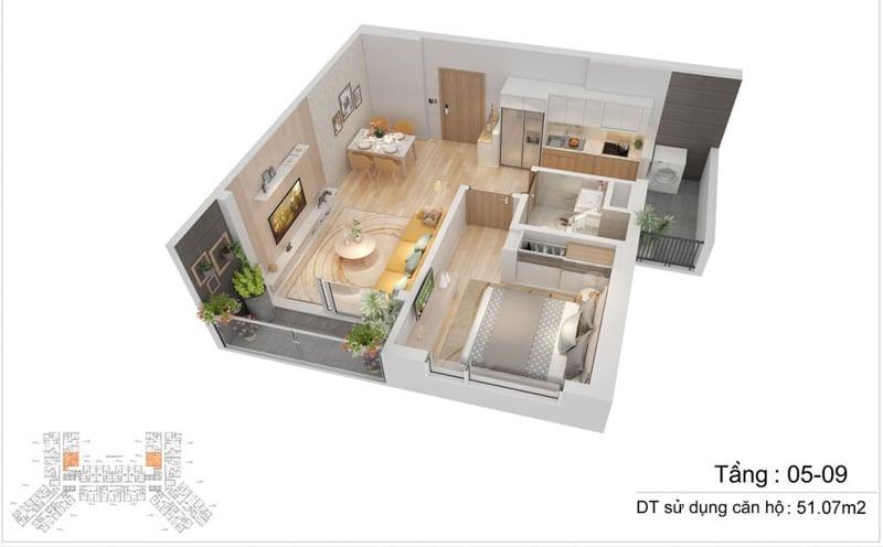 thiet ke can ho s1 The Sapphire Residence 1pn