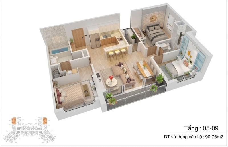 thiet ke can ho s1 The Sapphire Residence 3pn