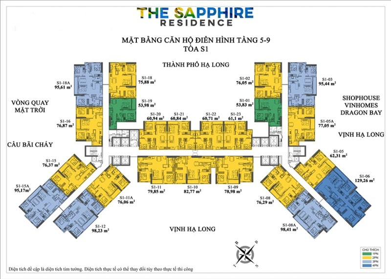 mat bang dien hinh toa s1 The Sapphire Residence