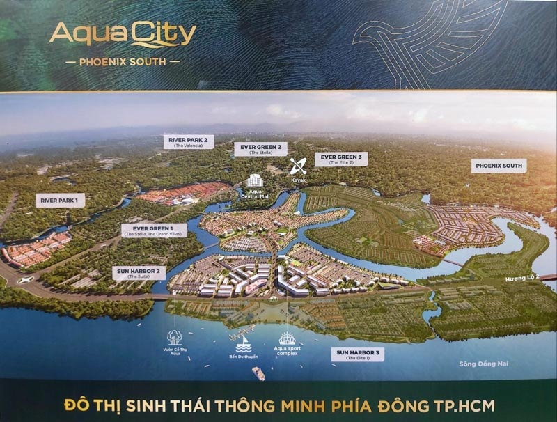 phoi canh du an aqua city novaland
