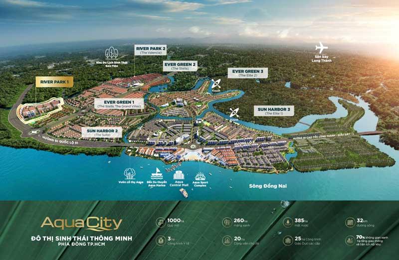vi tri river park 1 trong khu do thi aqua city