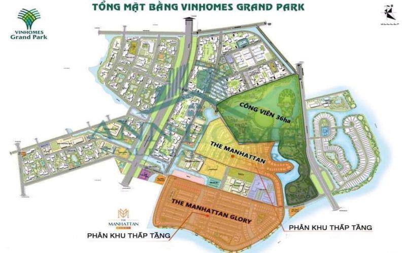 vi tri phan khu the manhattan glory tai vinhomes grand park